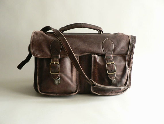 Distressed Brown Leather Messenger Bag / Briefcase