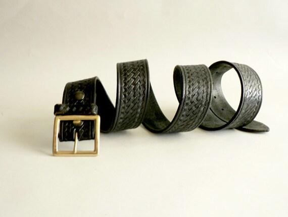 Men's Black Leather Belt , Large Wide Black Belt