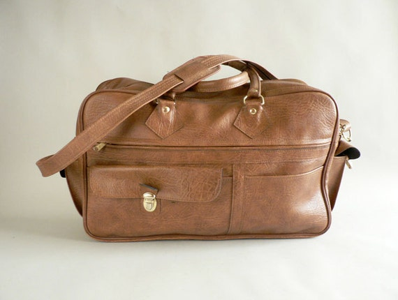 Camel Tan Faux Leather Overnight Bag