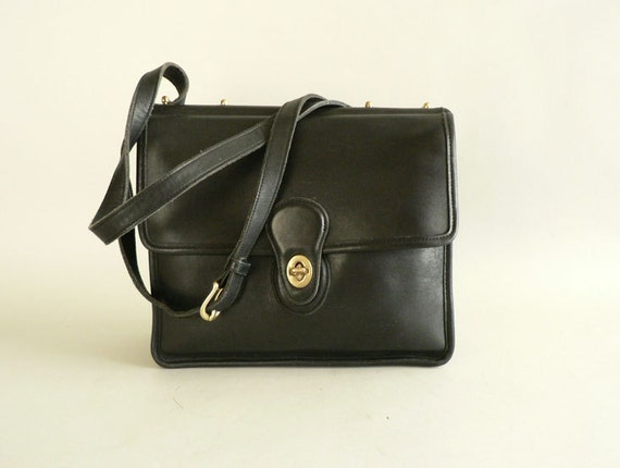 Coach Leather Shoulder Bag,Black Leather Cross Body Purse by Coach