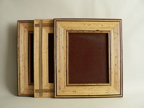 Wall Gallery Picture Frames, set of Three Brown Wood Frames