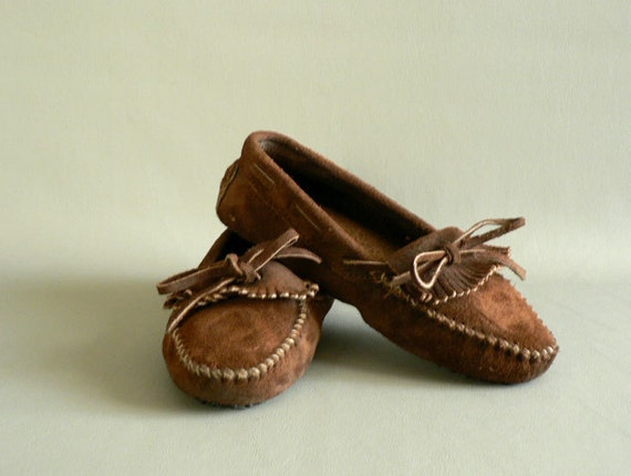 Brown Suede Leather Moccasins, Women's Size 6.5 Driving Moccasins
