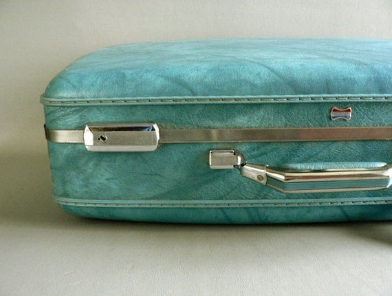 American Tourister Turquoise Faux Leather Suitcase