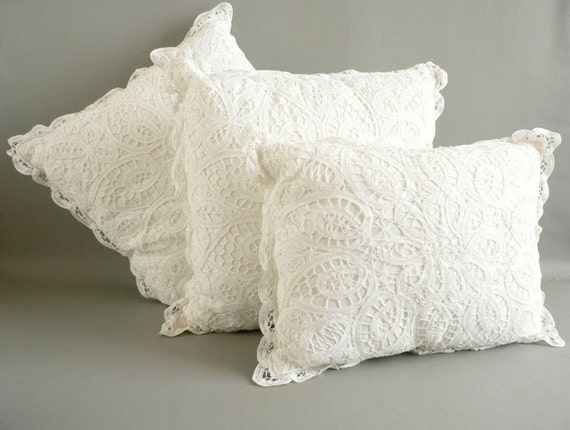 Battenburg Lace Pillow Set White Cotton Lace Pillows By