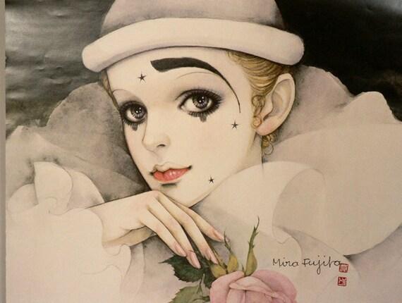 Vintage Large Harlequin Pierrot Art Print by  Mira Fujita