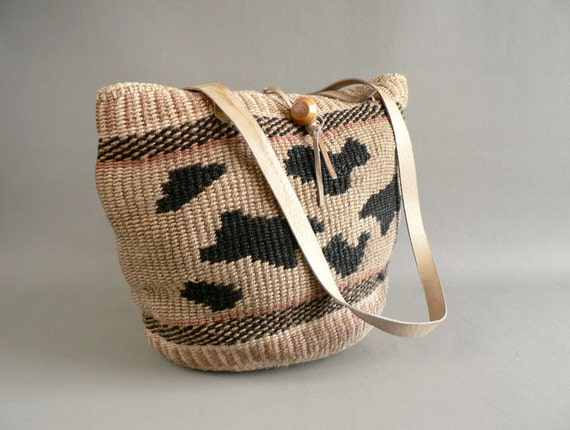 Sisal Tribal Purse,  Woven Sisal Shoulder Bag