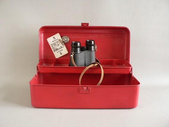 Metal Tool  / Fishing Tackle Box, Red Steel Western Auto Tool Box