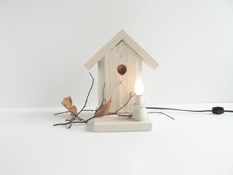 V i n t a g e white bird house electric night light lamp - Birdhouse nightlight ...
