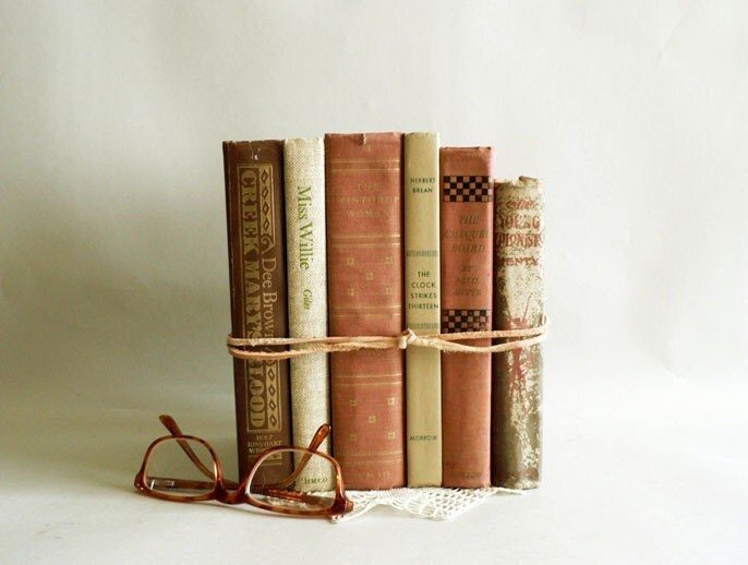 Home Decor Vintage Books Neutral Shades Old Book By Etsplace