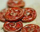 6 red sew on buttons