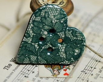alice in wonderland ceramic  heart buttons....a  sew on button