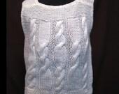 RESERVED Vintage 1970s Blanc Handknit Cable Sweater Vest (M-L)