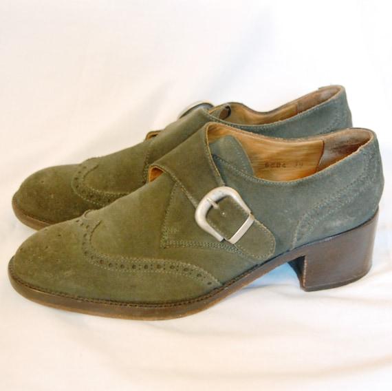 Vintage 1990s Shoes / 90s Evergreen Spectator Pilgrim Shoes (Size 39 UK Womens)
