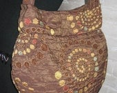 Brown Bag, Textured Purse with Gold, Rust & Turquoise Dots