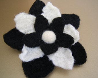 Dress it Up in Black and White Felted Flower Brooch/Pin