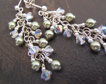 Earrings - Cascading  Crystals and Pearls