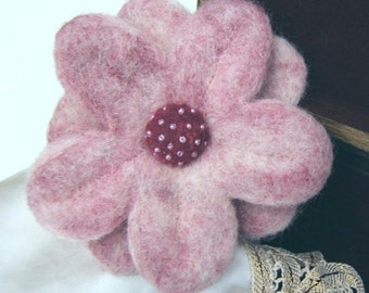 Raspberries and Cream Felted Flower Brooch/Pin