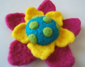 Fun Vibrant Felted Flower Brooch/Pin