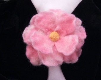 Pretty in Pink Felted Flower Brooch/Pin