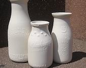 NYC themed porcelain milk bottle vase set
