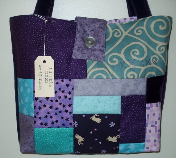 SALE - Dreaming Rabbit Quilted Patchwork Faery Stitches Tote