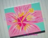 Hawaiian Hibiscus Flower Nursery Art for Ocean Beach Cottage - 16 x 20 - Baby Girls Kids Room Wall Decor Handpainted