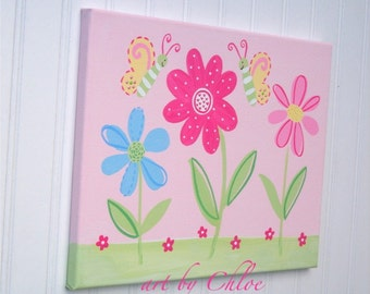 Pink Garden Party Painting Butterfly Flowerland Nursery Wall Art Canvas