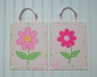 Pink Garden Party Happy Daisy Nursery Wall Art Canvas Paintings