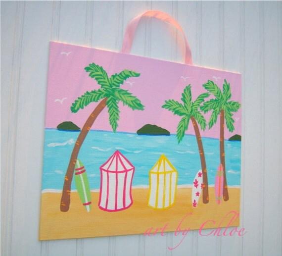Items similar to girls island aloha surf nursery wall art for Surf nursery ideas