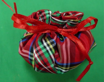 Mini Jewelry Pouch. Classic Red Tartan Plaid. Candy Bag. Taffeta.