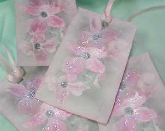 Gift Tags Shabby Chic Dogwood Blossoms Delicate Sparkly Pastel gift wrap