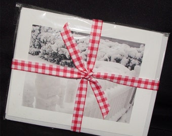 8 Photo Notecards, 2 Snow Scenes, blank inside, black & white, fence, tree, snow