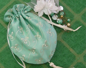 Bride's Bag wedding formal Purse turquoise Mother of Bride drawstring style