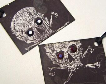 Gift tags, skeleton, skull, eyes, Punk, Goth Halloween