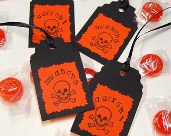 Halloween hang tags, skull, crossbones, orange & black, gift tags