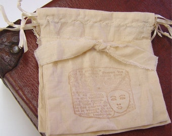 Muslin Bags, drawstring pouch, party favors, tea dyed, vintage look