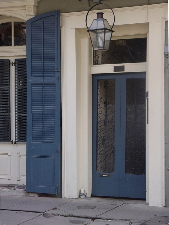 4 Photo notecards French Quarter doors blue New Orleans NOLA