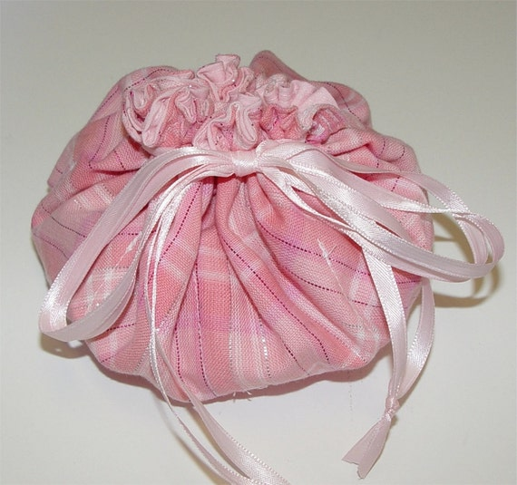 Jewelry travel pouch drawstring bag pink tote by greenwillow for Drawstring jewelry bag pattern