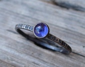 Tiny Iolite Ring - Sterling and Fine Silver - Purple Blue Iolite Stone - Dainty Rustic Stacking Ring