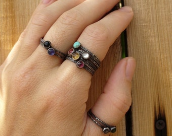 Sterling Silver Tiny Stacking Ring Set - Pick 6 - Your choice of birthstones