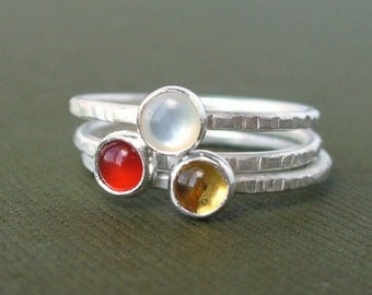 Sunrise...  Sunset....  Set of 3 Tiny Stacking Rings - Gemstone Stackers