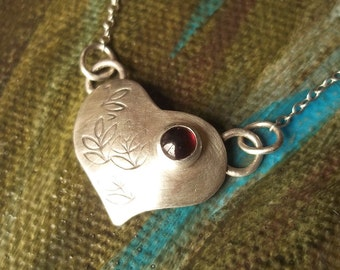 Personalized - Tiny Heart Charm - Red Garnet - Sterling and Fine Silver Necklace - Mother's Day