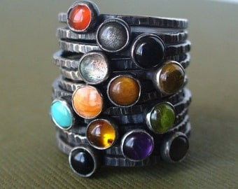 Pick 3 - Tiny Stacking Rings - Sterling and fine silver - Your choice of birthstones or any stone
