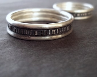Set of Simple Sterling Wedding Bands - one 4mm and one 6mm wide