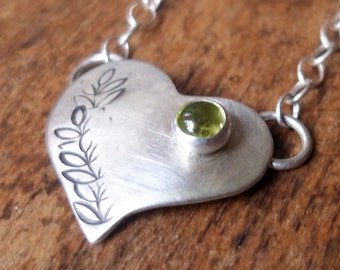Personalized - Tiny Heart Charm - PERIDOT - Sterling and Fine Silver Necklace