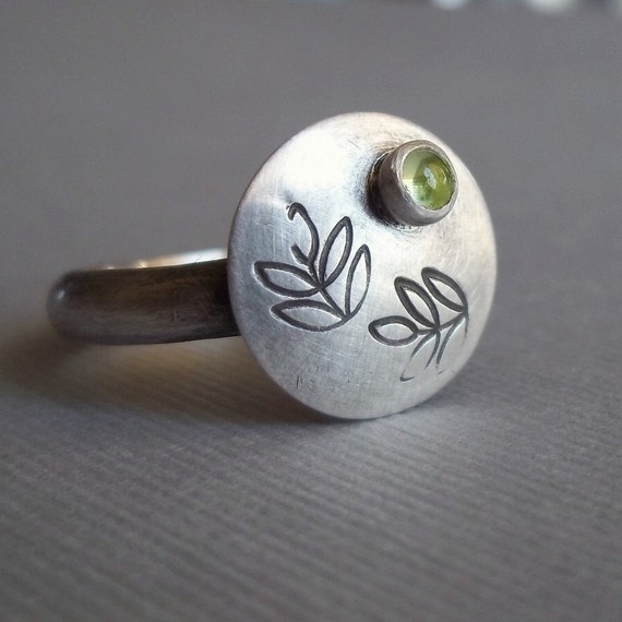 Green Olives - Sterling Silver and Peridot Ring - August Birthstone