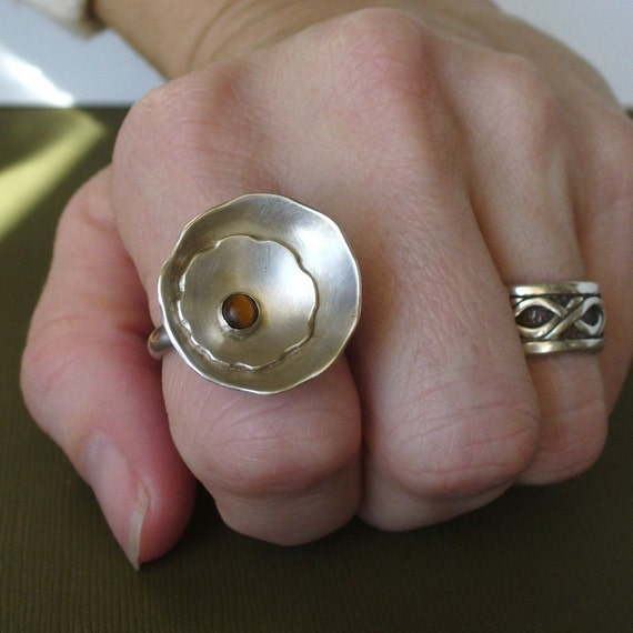 READY TO SHIP - Soft Petals Flower Ring - Sterling Silver - Tigers Eye
