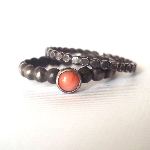 Pretty in Pink .Punk. Stack Rings - Sterling - Fine Silver - Pink Coral