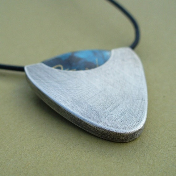 Guitar Pick Holder - Leather and Sterling Silver Necklace - The Roughed Up Look