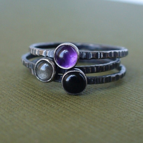 Purple Passion Goodness - Sterling and Fine Silver - Set of 3 Tiny Stacking Rings - Gemstone Stackers